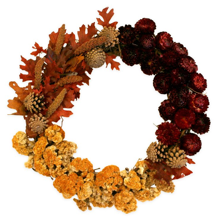 "17"" Strawflowers & Pinecones Wreath"