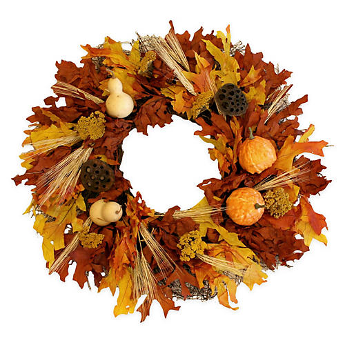"22"" Yarrow, Gourds & Fall Leaves Wreath"