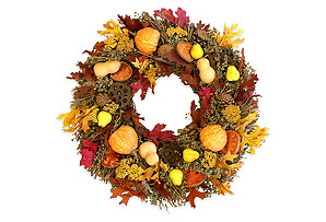 "22"" Pears, Gourds & Quince Wreath, Dried"