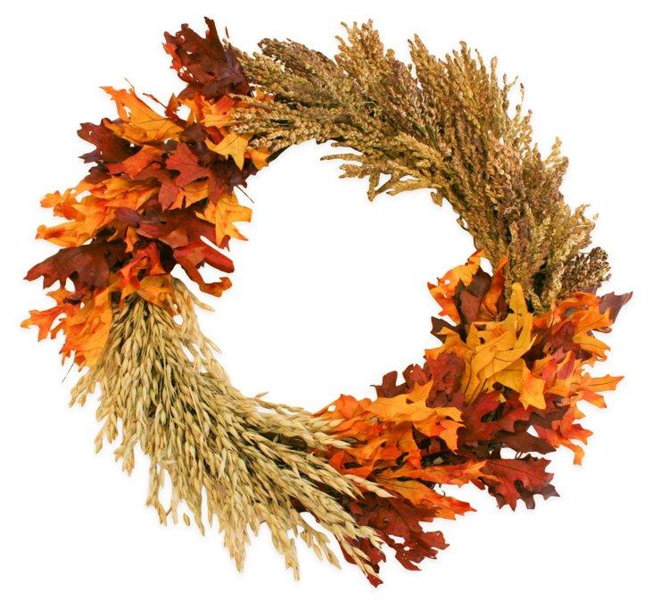 """22"""" Grain & Fall Leaves Wreath, Dried"""