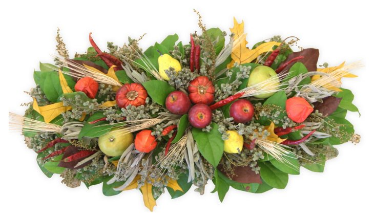 "24"" Fruit & Leaves Centerpiece, Dried"