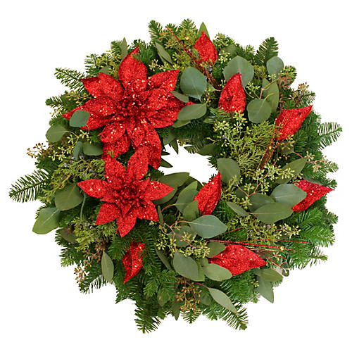 "20"" Poinsettia Wreath, Live"