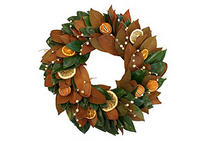 "20"" Citrus Magnolia Wreath, Dried"