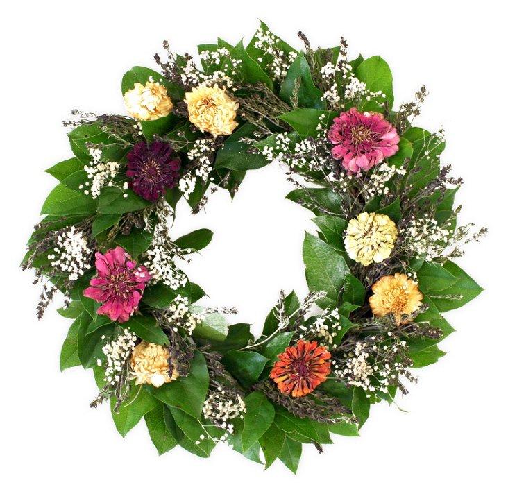 "16"" Zinnia Wreath, Dried"