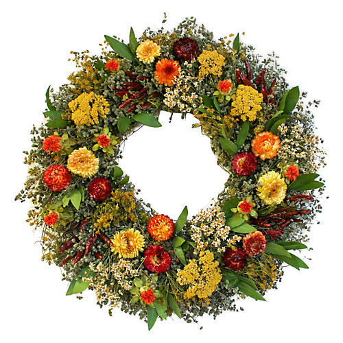 "18"" Chilis & Safflowers Wreath, Dried"