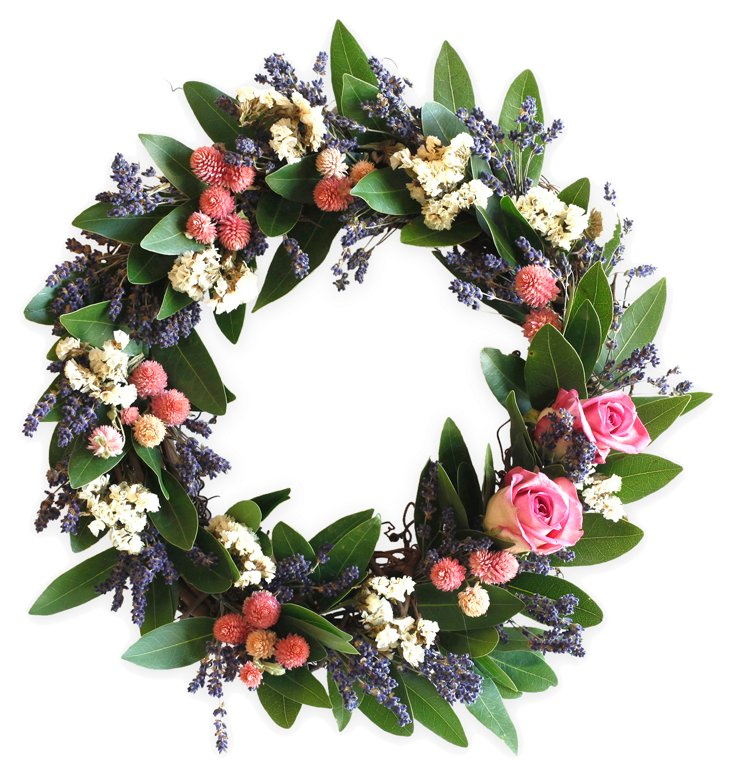 "16"" Lavender & Rose Wreath, Dried"