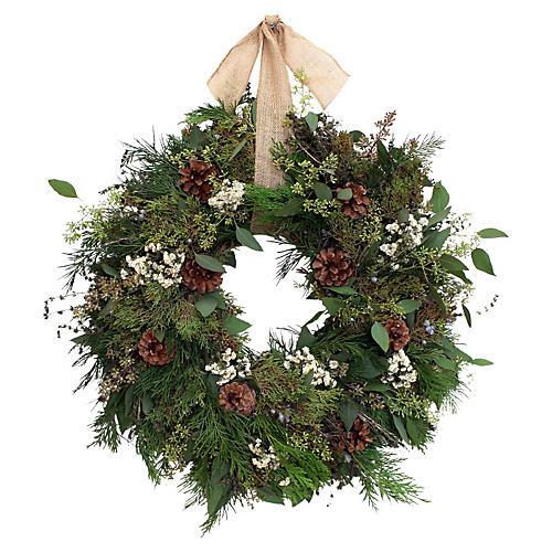 "22"" Silver Snow Live Wreath"