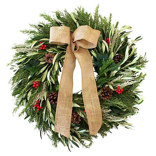 """22"""" Cedar & Rosemary Live Wreath"""