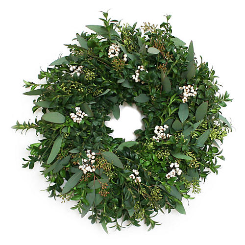 "18"" Winter Boxwood Live Wreath"