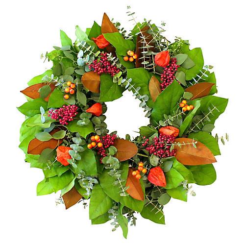 """20"""" Autumn Berries Wreath, Dried"""