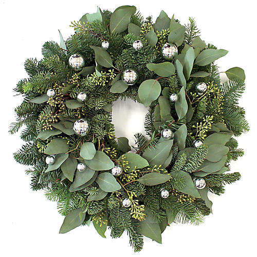 "20"" Silver Holiday Live Wreath"