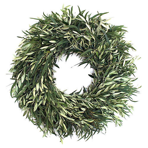 "30"" Willow Eucalyptus Wreath, Live"
