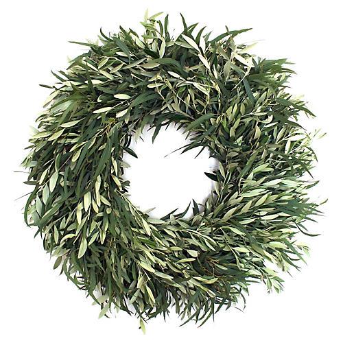 "30"" Willow Eucalyptus Wreath, Live"