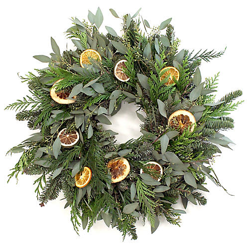 "20"" Orange & Lemon Slices Live Wreath, Green"