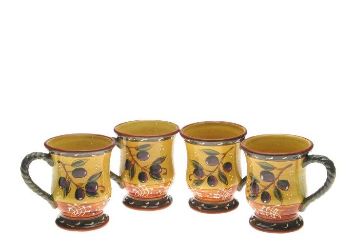 Set of 4 French Olive Mugs, 18 Oz