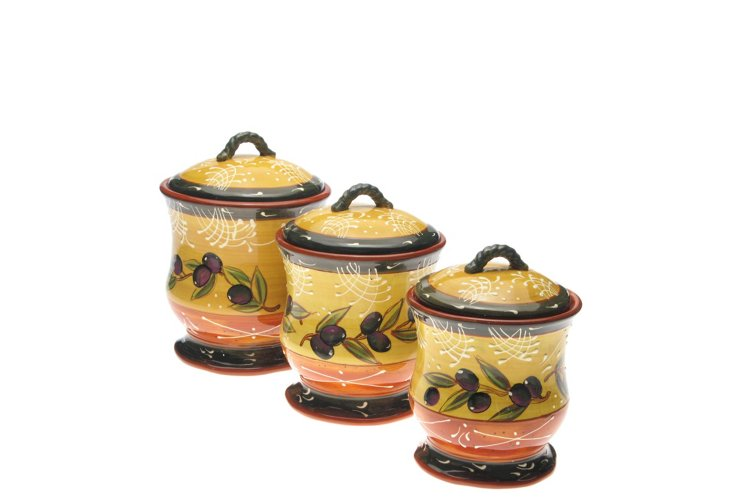 3-Piece French Olive Canister Set