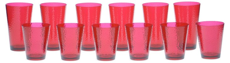 12-Pc Acrylic Drinkware Set, Red