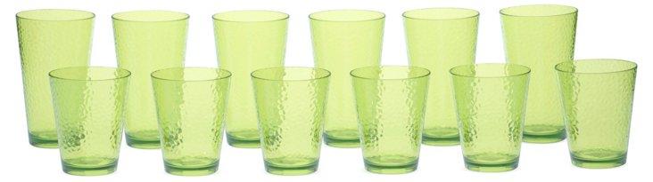 12-Pc Acrylic Drinkware Set, Lime