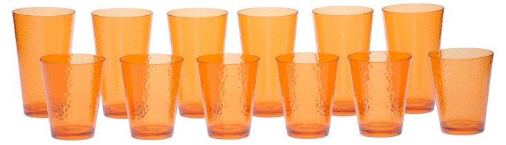 12-Pc Drinkware Set, Orange