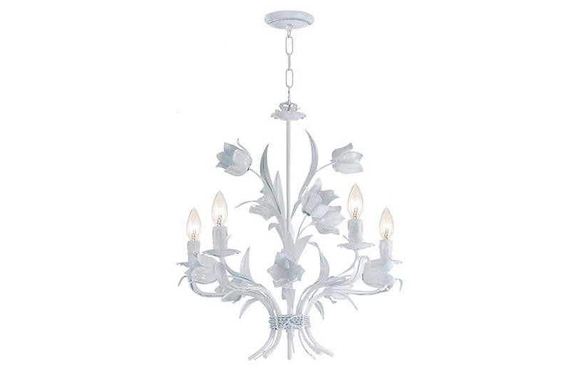 Amour Chandelier - White - Crystorama - 3-Light