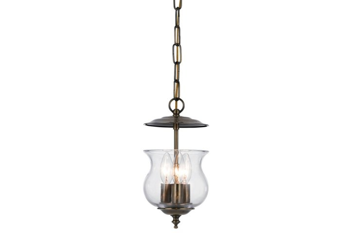 Del Monte 4-Light Lantern, Antiqued Brass