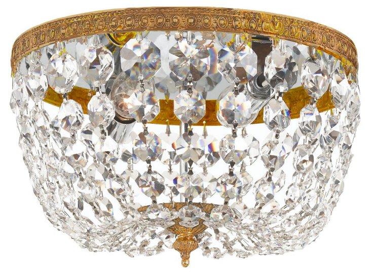 Mandrel 1-Light Flush Mount, Brass