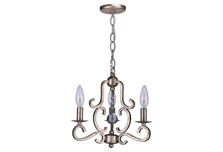 Capri 3-Light Chandelier, Silver
