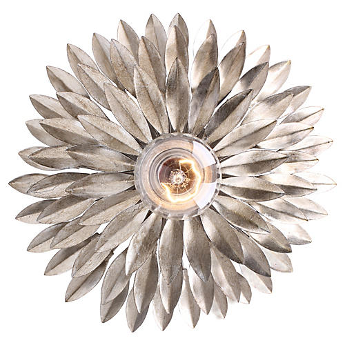 Broche 1-Light Wall Sconce, Silver