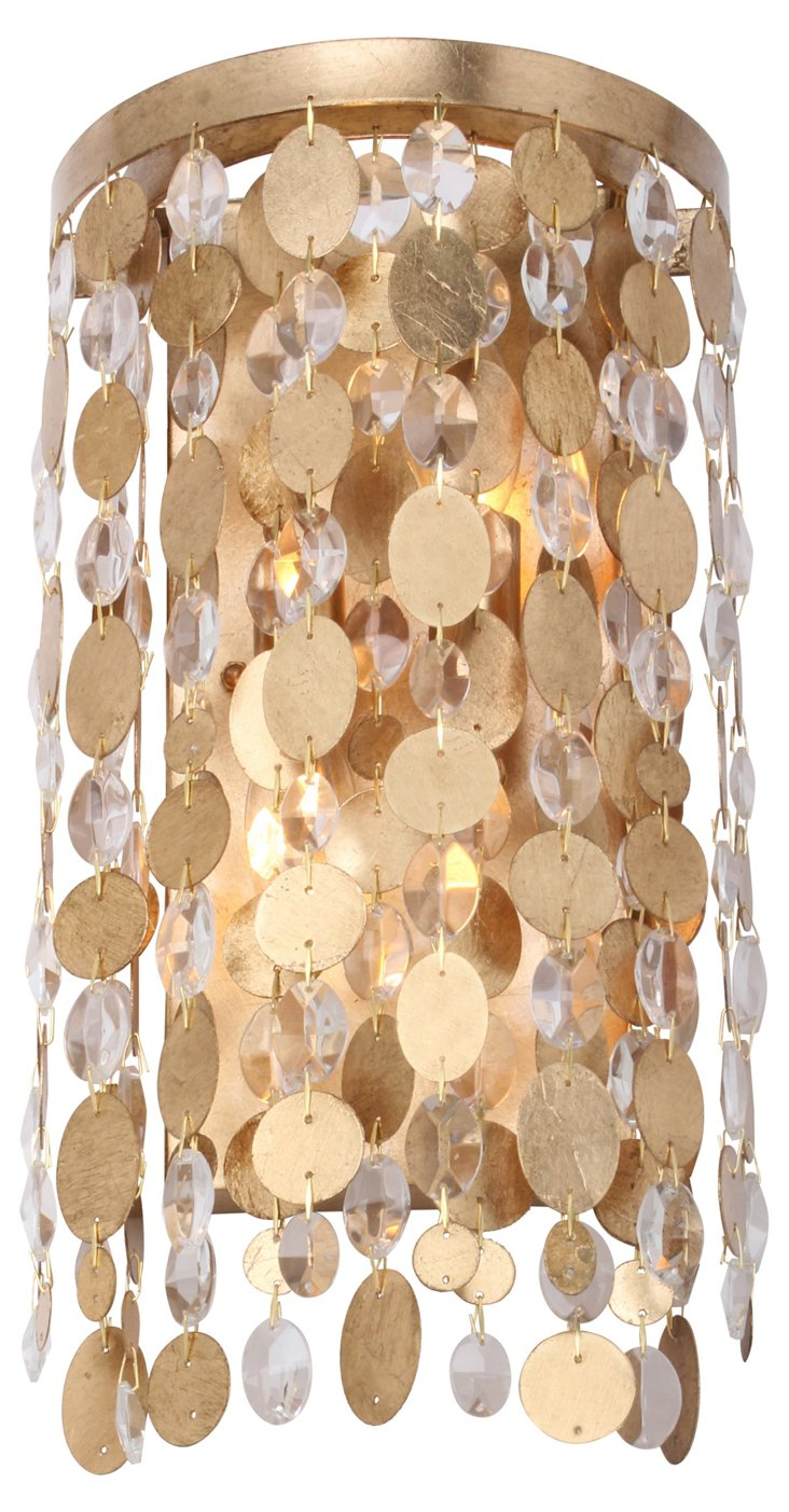 Cara 2-Light Wall Sconce, Antiqued Gold