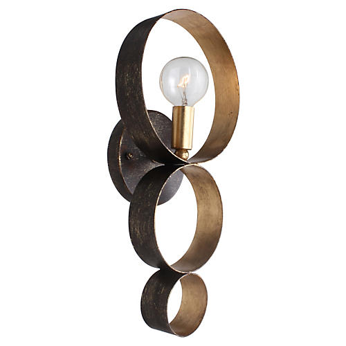 Luna 1-Light Sphere Sconce, Bronze