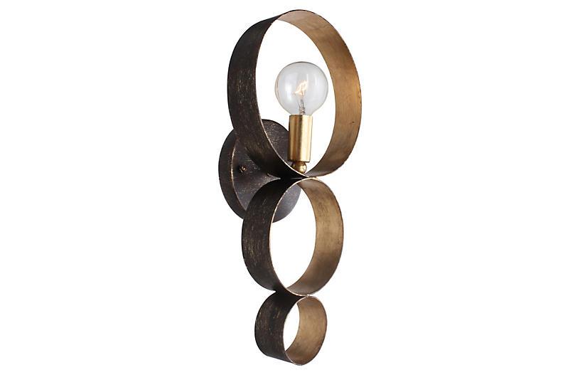 Luna 1-Light Sphere Sconce, Bronze