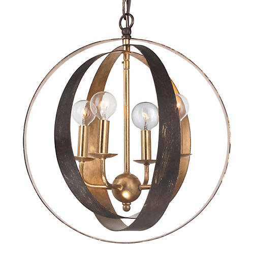 Luna Sphere Chandelier, Gold/Bronze