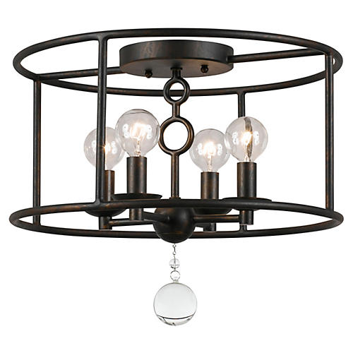Cameron 4-Light Semi-Flush, Bronze