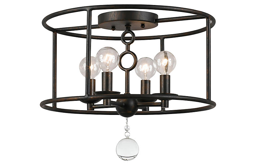 Cameron 4-Light Semi-Flush, Bronze
