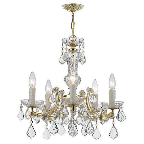 5-Light Crystal Chandelier, Gold