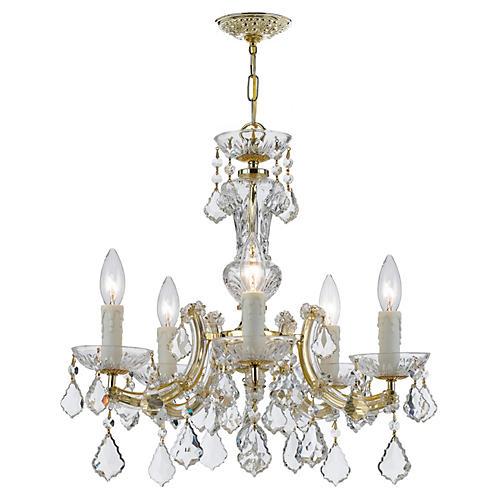5-Light Crystal Chandelier, Gold