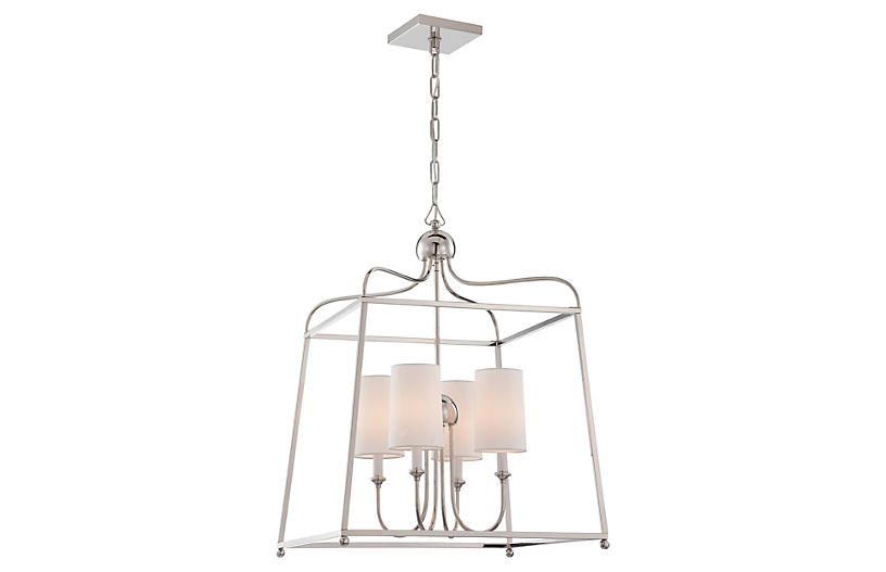 Sylvan Chandelier, Polished Nickel