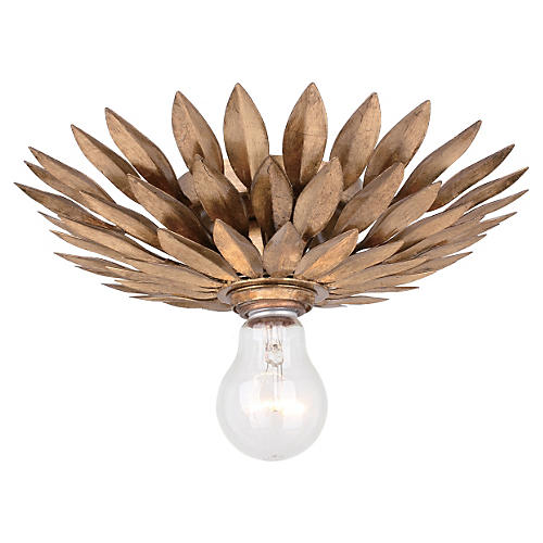1-Light Semi-Flush, Antique Gold