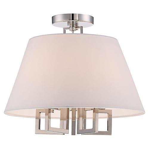 5-Light Ceiling Mount, Polished Nickel