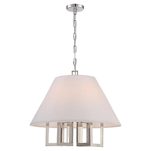 6-Light Chandelier, Polished Nickel