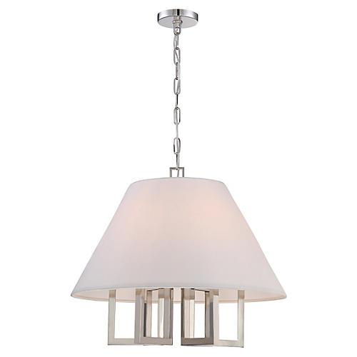 6-Light Chandelier, Polished Nickel