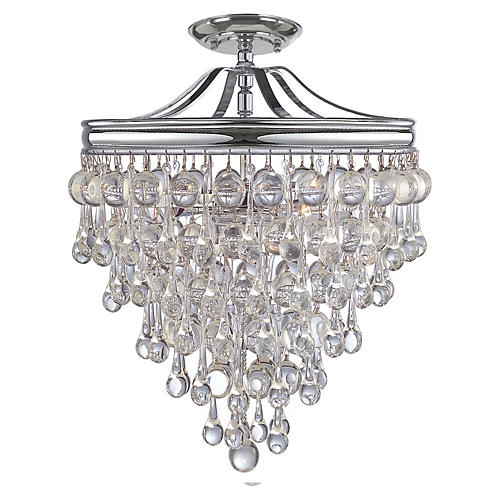 Calypso 3-Light Semi-Flush Mount, Chrome