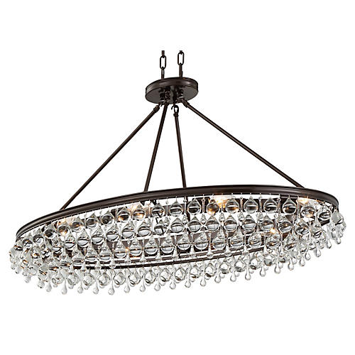 Calypso 8-Light Oval Chandelier, Bronze