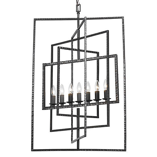 Capri 7 Light Chandelier, Raw Steel