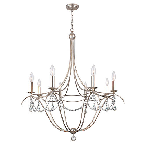 Metro 8-Light Crystal Chandelier, Silver