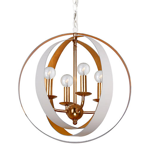 Luna 4-Light Sphere Chandelier, White