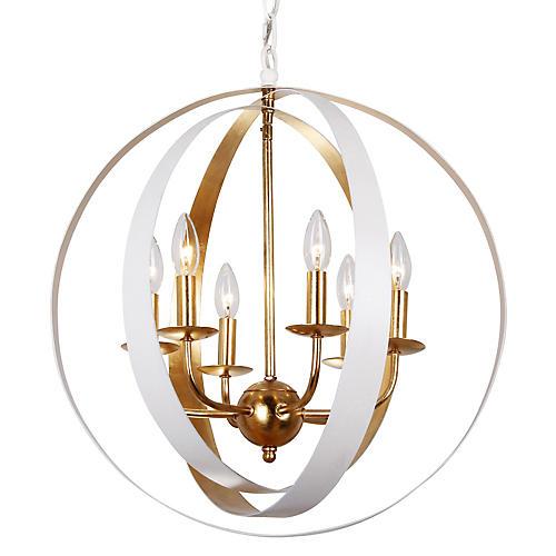 Luna 6-Light Sphere Chandelier, White