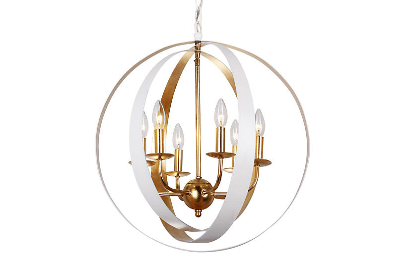 Luna 6-Light Sphere Chandelier, White