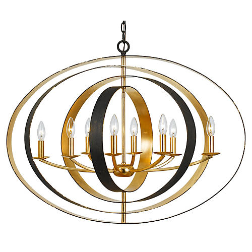 Luna 8-Light Oval Chandelier, Bronze