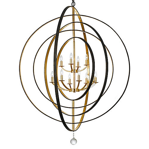 Luna 12-Light Chandelier, Bronze/Gold